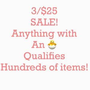 3/$25 SALE! Hundreds of items, some new with tag!
